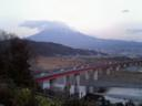 [viewing Mount Fuji from distant parking area]
